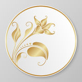 Piatto decorativo dell'oro di vettore Immagine Stock