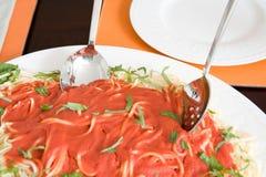 Piatto degli spaghetti e della salsa Fotografia Stock Libera da Diritti