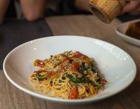 Piatto degli spaghetti fritto vongola Immagine Stock Libera da Diritti