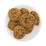 Piatto dei biscotti di pepita di cioccolato della farina d'avena Immagini Stock Libere da Diritti