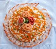 Piatto dei frutti di mare da sopra fotografie stock