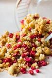 Piatto dei muesli casalinghi con i fiocchi di granturco, mirtillo rosso liofilizzato, anacardio, frutta candita, uva passa fotografia stock