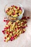 Piatto dei muesli casalinghi con i fiocchi di granturco, mirtillo rosso liofilizzato, anacardio, frutta candita, uva passa fotografie stock