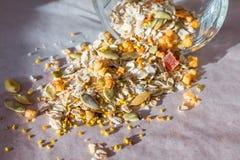Piatto dei muesli casalinghi con i semi di zucca, polvere del fiore, frutta candita, albicocca liofilizzata immagine stock libera da diritti