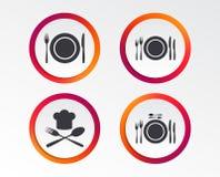 Piatto del piatto con le forcelle e l'icona dei coltelli Cappello principale illustrazione vettoriale