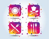 Piatto del piatto con le forcelle e l'icona dei coltelli Cappello principale royalty illustrazione gratis