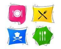 Piatto del piatto con le forcelle e l'icona dei coltelli Cappello principale Vettore illustrazione di stock