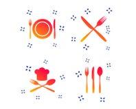 Piatto del piatto con le forcelle e l'icona dei coltelli Cappello principale Vettore illustrazione vettoriale