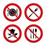 Piatto del piatto con le forcelle e l'icona dei coltelli Cappello principale illustrazione di stock