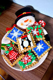 Piatto del piatto del biscotto del pupazzo di neve Immagine Stock