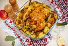 Piatto del pollo arrostito Fotografia Stock Libera da Diritti