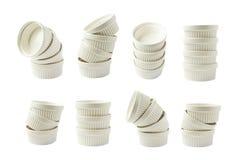 Piatto del ramekin del soufflè della porcellana isolato Fotografie Stock Libere da Diritti