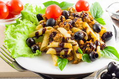 Piatto del rigatoni italiano della pasta con salsa bolognese Immagine Stock Libera da Diritti