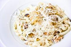 Piatto del ristorante, pasta con le cozze Fotografie Stock