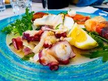 Piatto delizioso di frutti di mare misti freschi fotografia stock