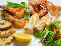 Piatto dell'aperitivo delizioso con frutti di mare Immagini Stock Libere da Diritti