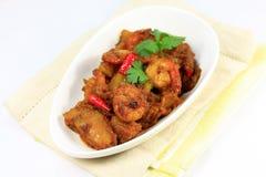Piatto dell'asiatico del curry del gamberetto immagini stock libere da diritti