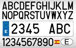 Piatto dell'automobile, lettere, numeri e simboli spagnoli, Spagna Fotografia Stock Libera da Diritti