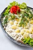 Piatto dell'insalata di aringa Fotografie Stock