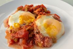 Piatto dell'uovo di Shakshouka Immagini Stock Libere da Diritti