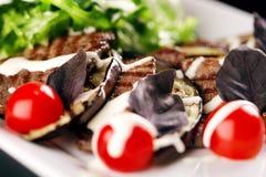 Piatto della carne con i pomodori ciliegia fotografia stock libera da diritti