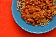 Piatto della pasta con i fagioli Fotografia Stock Libera da Diritti