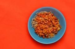 Piatto della pasta con i fagioli Immagine Stock Libera da Diritti
