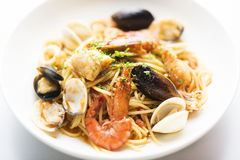 Piatto della pasta dei frutti di mare Fotografie Stock Libere da Diritti