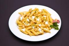 Piatto della pasta del fungo Fotografia Stock