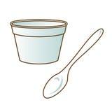 Piatto della schiuma e cucchiaio di plastica bianco Immagine Stock