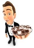 piatto della tenuta del cameriere 3d con il vario cioccolato Immagine Stock
