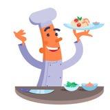 Piatto della tenuta del cuoco unico del fumetto con pasta e gamberetti Immagine Stock