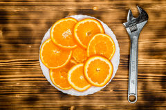 Piatto delle arance affettate Modello dell'alimento Fotografia Stock Libera da Diritti