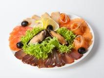 Piatto dello spuntino dei frutti di mare Immagine Stock