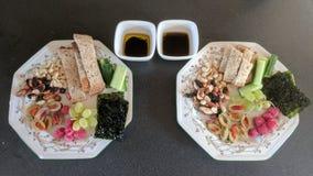 Piatto di alimento con aceto balsamico ed olio fotografia stock