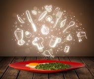 Piatto di alimento con le icone bianche della cucina Fotografia Stock Libera da Diritti