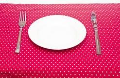 Piatto di cena bianco vuoto Immagini Stock Libere da Diritti