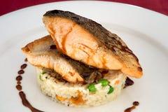 Piatto di color salmone sulla base di risotto Fotografia Stock Libera da Diritti