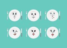 Piatto di emozioni La coltelleria di espressioni fissate Buon e malvagità royalty illustrazione gratis