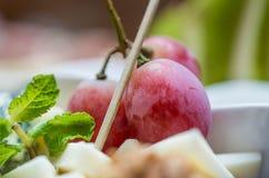 Piatto di formaggio con l'uva rossa fotografie stock libere da diritti