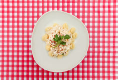 Piatto di gnocchi sulla tavola a quadretti rossa e bianca Fotografia Stock