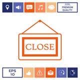 Piatto di informazioni con il segno vicino, icona d'attaccatura del bordo Immagine Stock