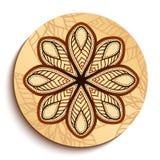 Piatto di legno etnico. Isolato su bianco Immagine Stock