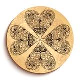 Piatto di legno etnico. Isolato su bianco Fotografia Stock Libera da Diritti