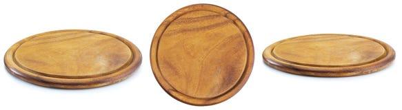Piatto di legno rotondo con tre viste fotografia stock libera da diritti