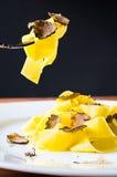Piatto di pasta con i tartufi freschi Fotografia Stock Libera da Diritti