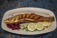 Piatto di pesce che cucina con i vari ingredienti con il limone, aglio, h immagine stock libera da diritti