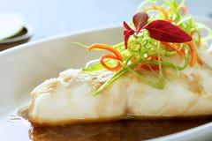 Piatto di pesce pranzante fine creativo Fotografia Stock