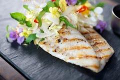 Piatto di pesce pranzante fine creativo Immagini Stock