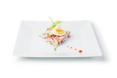 Piatto di un'insalata della cena del pesce fotografia stock